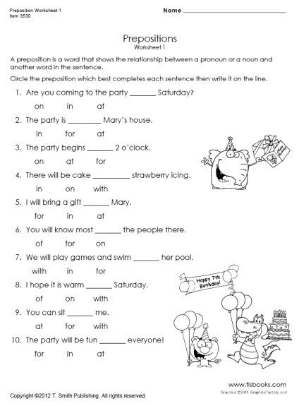 Snapshot image of Preposition Worksheet 1