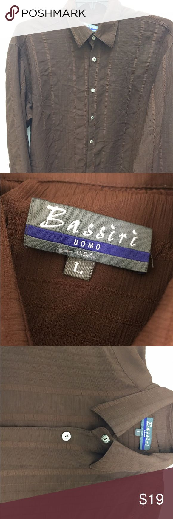 BASSIRI UOMO light weight brown dress shirt size L This is a nice light airy type of fabric RICH BROWN color closest to color of second photo. But darker It is in great condition and is unique look at photos I tried to capture the material looksize L not Versace brand is Bassiri Uomo selling cheap Versace Shirts Dress Shirts