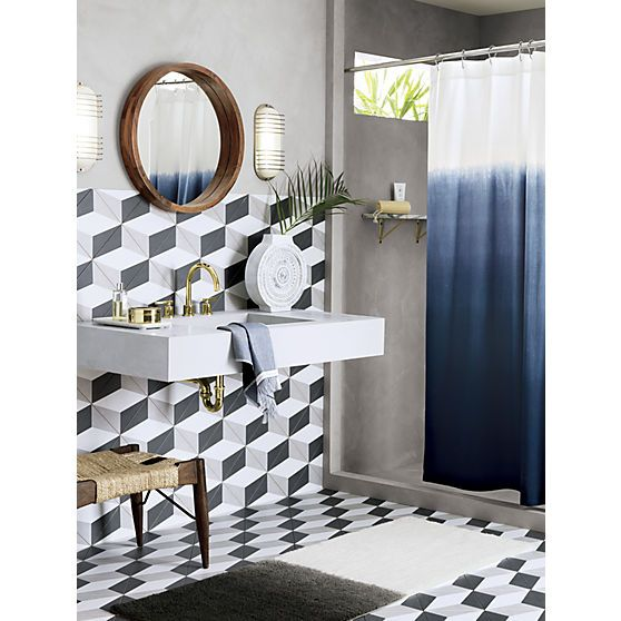 Blue Bathroom Wall Sconces : Blue ombre shower curtain Acacia wood, Wall sconces and Curtain designs