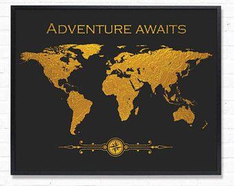Afdrukbare wereld kaart Faux goud folie en donker grijs muur Decor Wall Art Gold kaart typografische Print digitale downloaden Instant downloaden Golden kunst