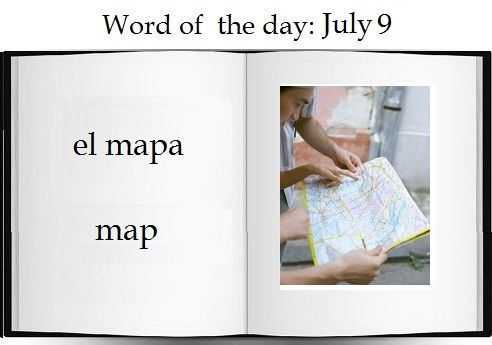 Map in Spanish |     The Spanish word of the day is: el mapa.  #Spanish #vocabulary #travel