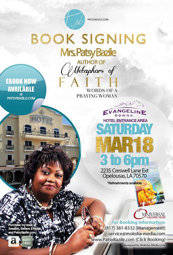 "Flyer Design (4"" x 6"" e-Flyer) for Author Mrs. Patsy Bazile book signing event, designed by Moksha Media of Dallas - Daymond E. Lavine"