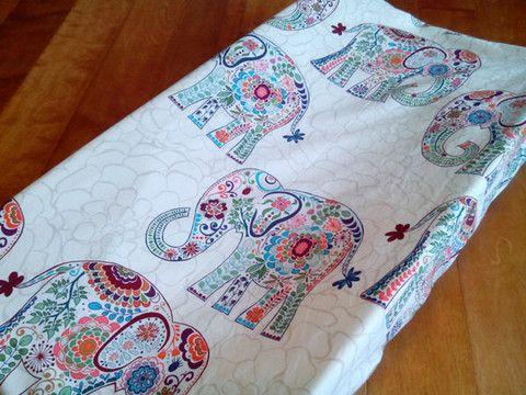 Ivory Boho Elephant Changing Pad Cover