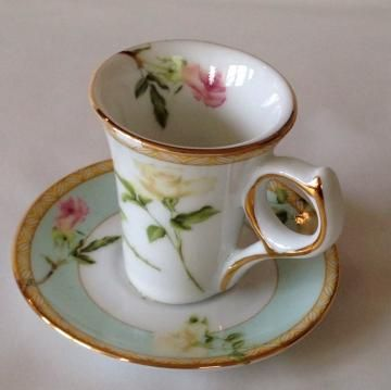German Miniature Teacup and Saucer 2 Inch by Hoopties for $12.00