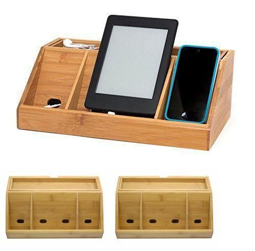 Charging Station Stand Mountable Desktop Gadgets Charged Iphone Light Wood New #LipperInternational