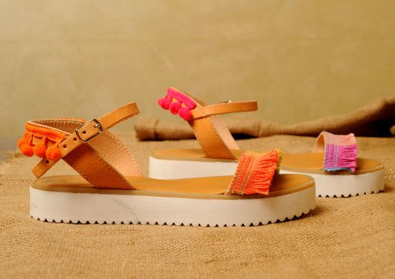 Handmade Leather Sandals decorated with braid with by Frabala