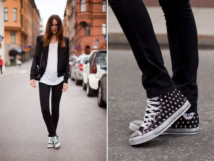 black + white with some studded converse