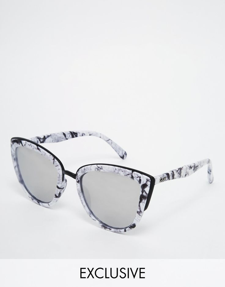 Image 1 of Quay Australia My Girl Exclusive Mirror Cat Eye Sunglasses in Marble Frame Place to purchase at link
