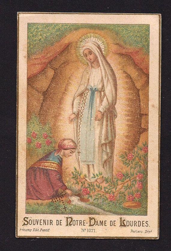 Notre Dame de Lourdes Vintage Gold Print Holy Card of Our Lady of Lourdes France and St. Bernadette Soubirous.