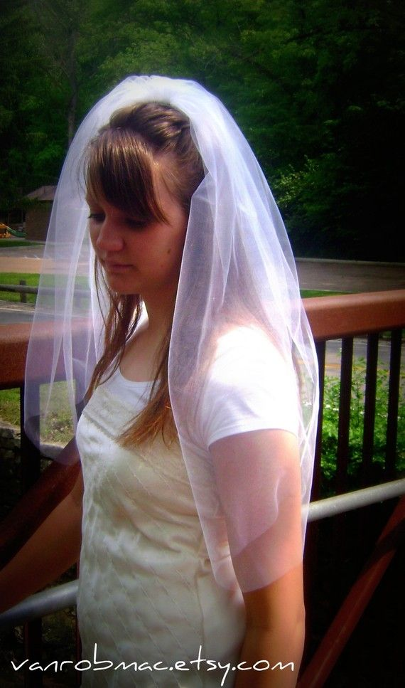 Wedding veil with Blusher add on Shoulder by OverTheMoonBridal