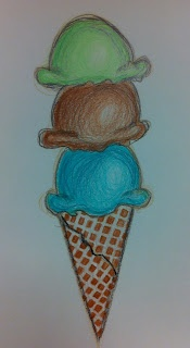 Angela Anderson Art Blog: Ice Cream Colored Pencil Drawings - Kid's Art Class