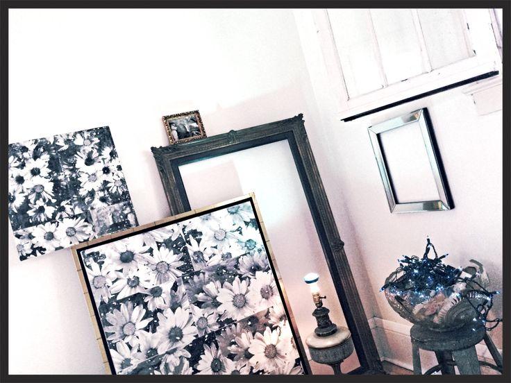 ~ bleu* daisy dreaming ~ bleu lights in vintage punch bowl with books on industrial stool, #vintageframes, #vintagelamp, #704bleu* #infraredphotography (by 704 bleu*)