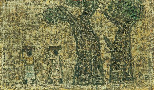 Park Soo-keun, Two Women and Two Trees, 1964, Oil on Hardboard, 14.5x24.2cm, GALLERY HYUNDAI