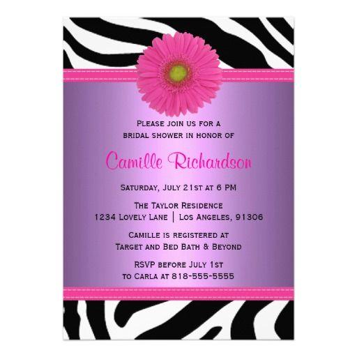 Purple and Pink, Zebra Bridal Shower Invitation