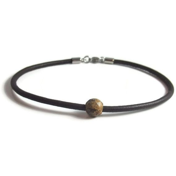 Brown Leather Anklet with Brown Boho Bead