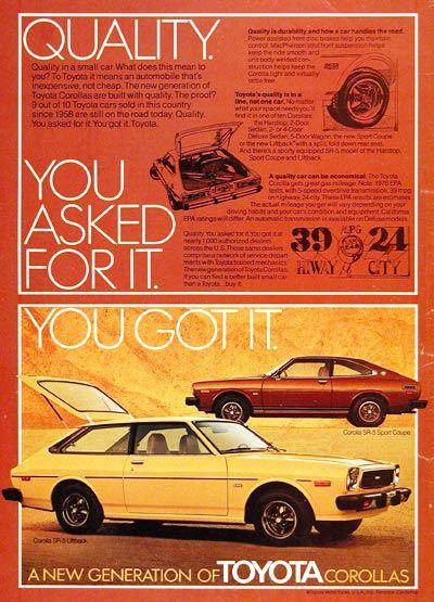 1976 Toyota Corolla SR-5 Ad