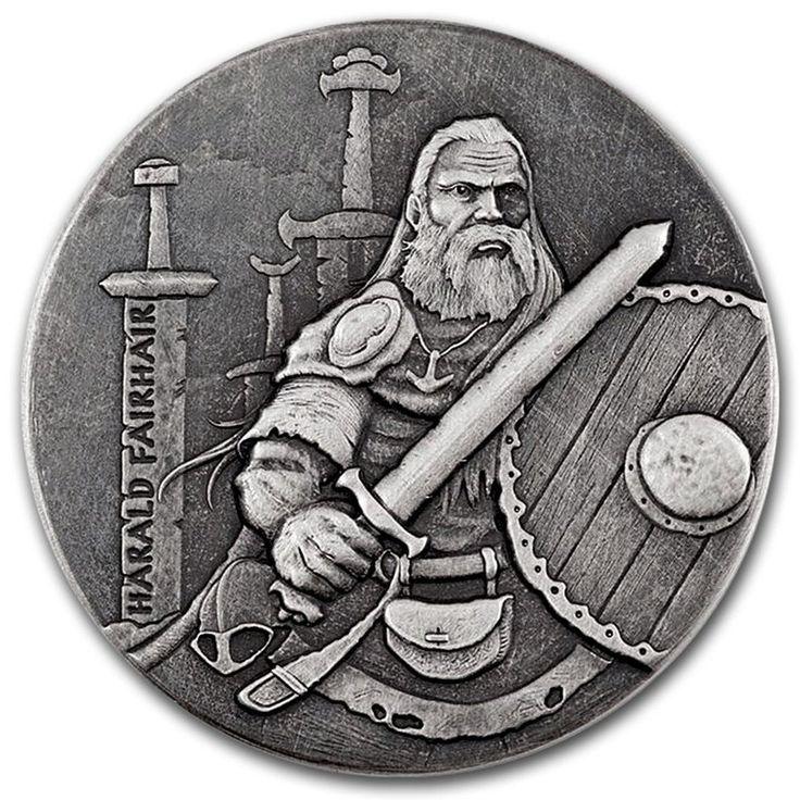 "2016 Niue 2 Ounce Harald Fairhair ""The Viking King"" High Relief Silver – Art in Coins"