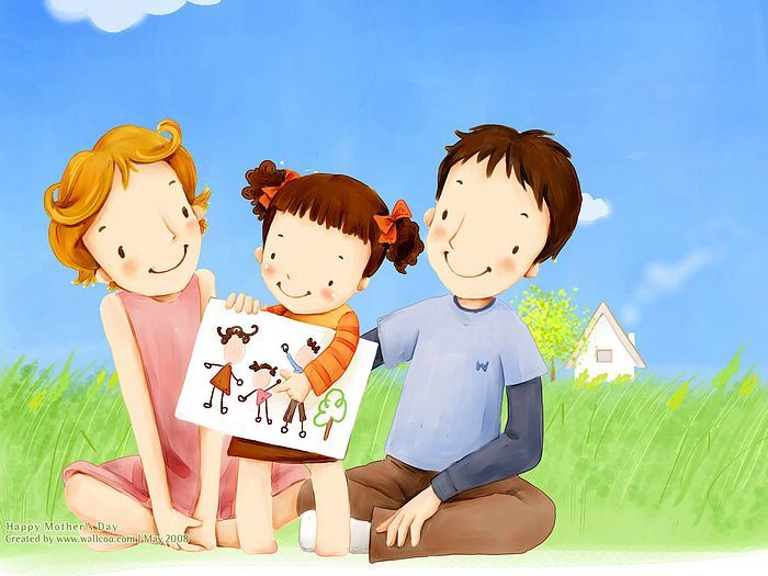 1600*1200  Children's illustration of Mother Day and Family Love - 1680x1050 Sweet family illustration - Art illustration of Family life2