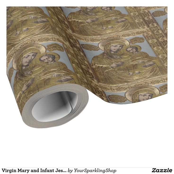 Virgin Mary and Infant Jesus Christ Golden Elegant Wrapping Paper #christmas #christmasgifts #giftwrapping #gold