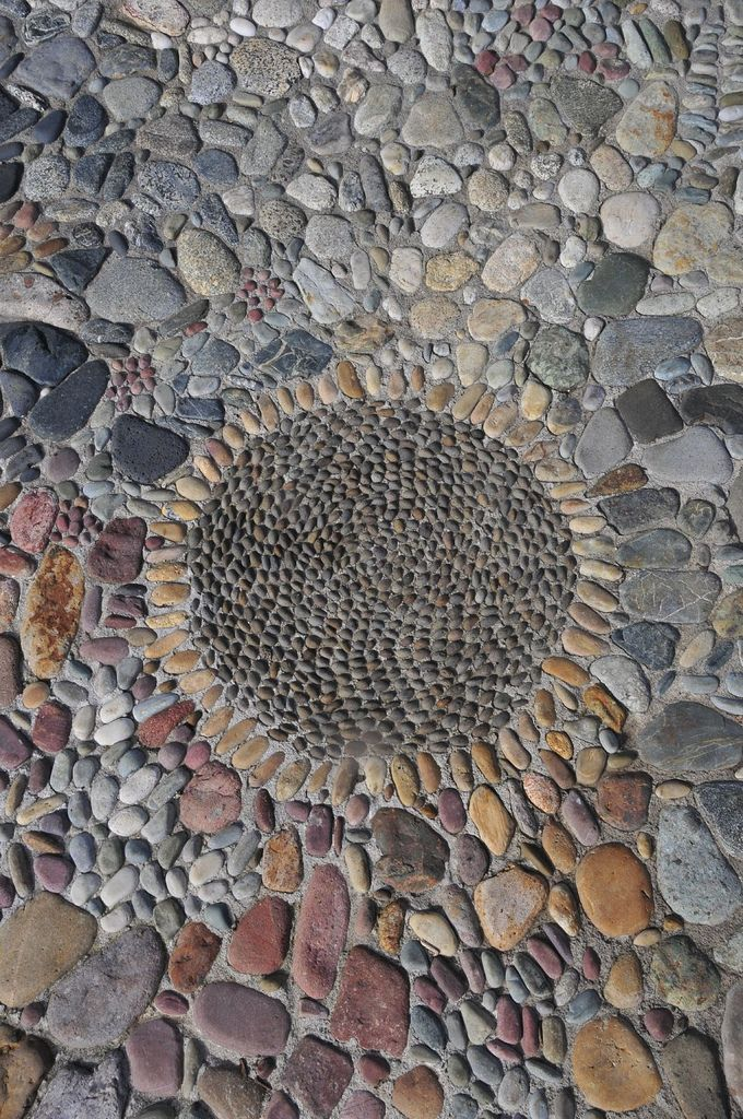 Stone mosaic outside renovation pinterest gardens for Rock stepping stones landscaping