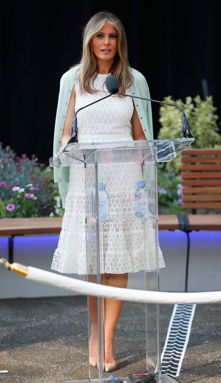 Melania Trump Looks Ethereal in Nude Pumps & White Dress at Children's  National Hospital Garden Ceremony