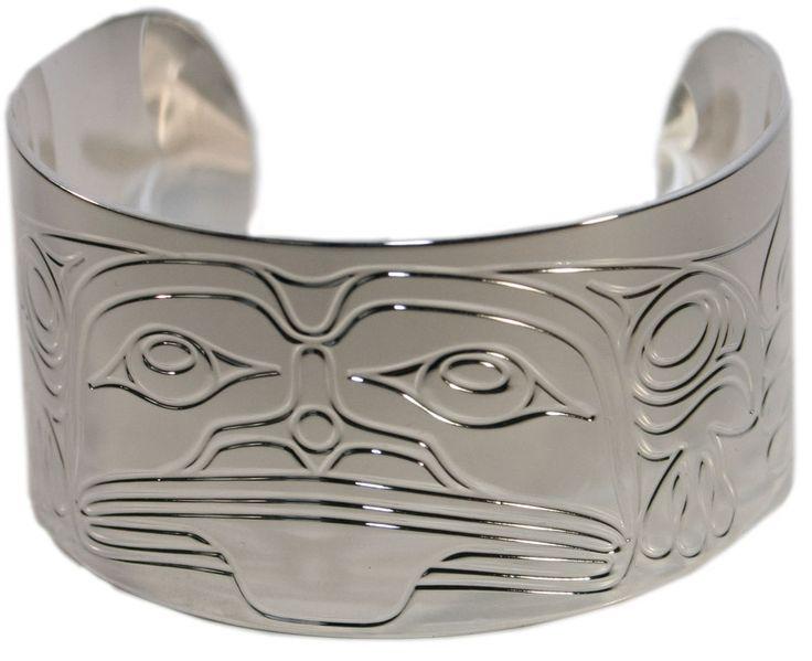"""Silver Bracelet 1.5"""" - Frog Spirit by Corey Moraes"""