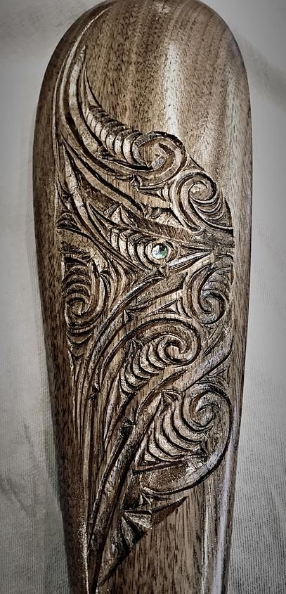 Conte Creations | Wood Carving patu/mere with kowhaiwhai designs