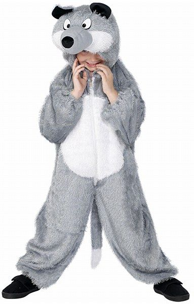 Kids Wolf Costume  I'll huff and i'll puff and i'll blow your house down!!!! For a howling experience at your animal fancy dress party, get this childs Wolf Costume. Let out a few howls to get in the mood in your Wolf Costume. Prove to the world that there really is a reason to be afraid of the big bad wolf on Halloween in one of our fantastic Wolf Costumes. Our Werewolf Costumes For Kids will have you ready to play the role of a lifetime.