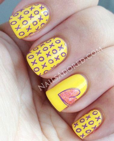 xoxo heart yellow and pink NAIL polish - VALENTINE'S DAY NAILS - holidays