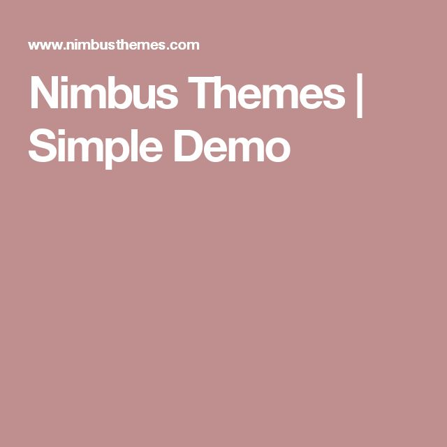 Nimbus Themes | Simple Demo