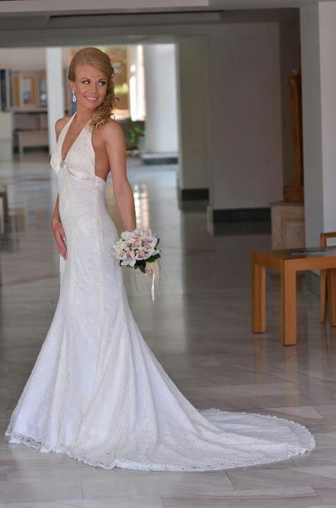 Wedding dress I made for this beautiful lady. #lace #wedding #satin #pearls #elegant #beautiful