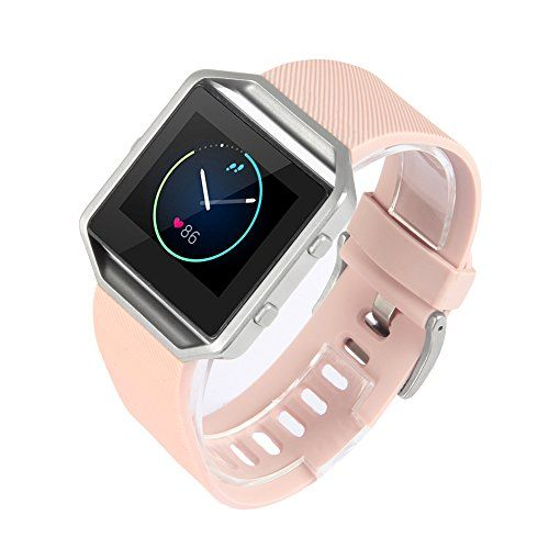 Fitbit Blaze Accessory Band, Classic, Pink, Large, V-Moro Silicon Bracelet Strap Replacement Band For Fitbit Blaze Smart Fitness Watch (Classic, Pink, Large)