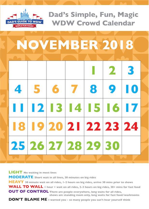 Dad's November 2014 Disney World Crowds Calendar