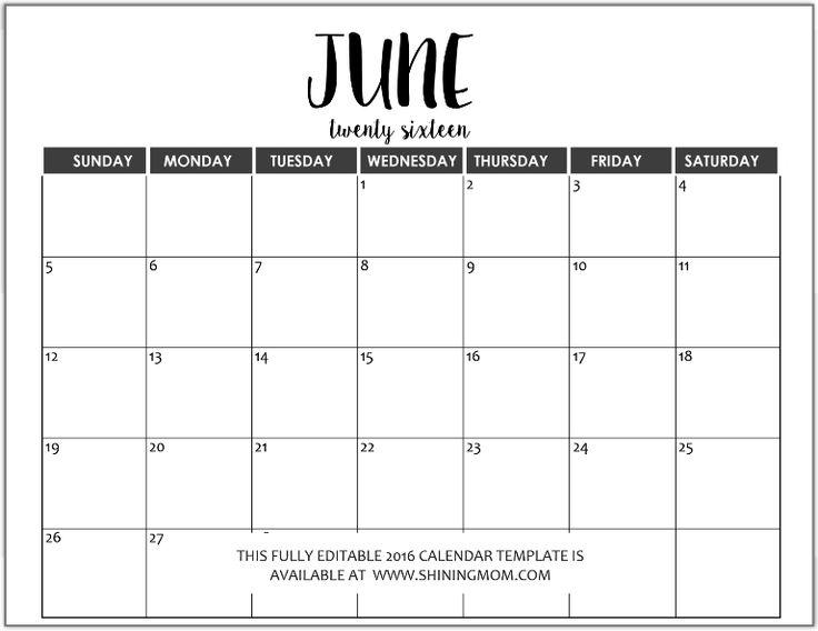 fully editable July 2016 calendar in MS Word