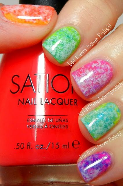 this is so cute!! Paint your nails with a base coat of your choice. Then dab a piece of crumpled saran wrap in a different nail polish. Apply to nails.
