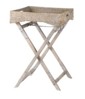 Vintage Rattan Butlers tray side table - White Wash - Square - Lifestyle Home and Living