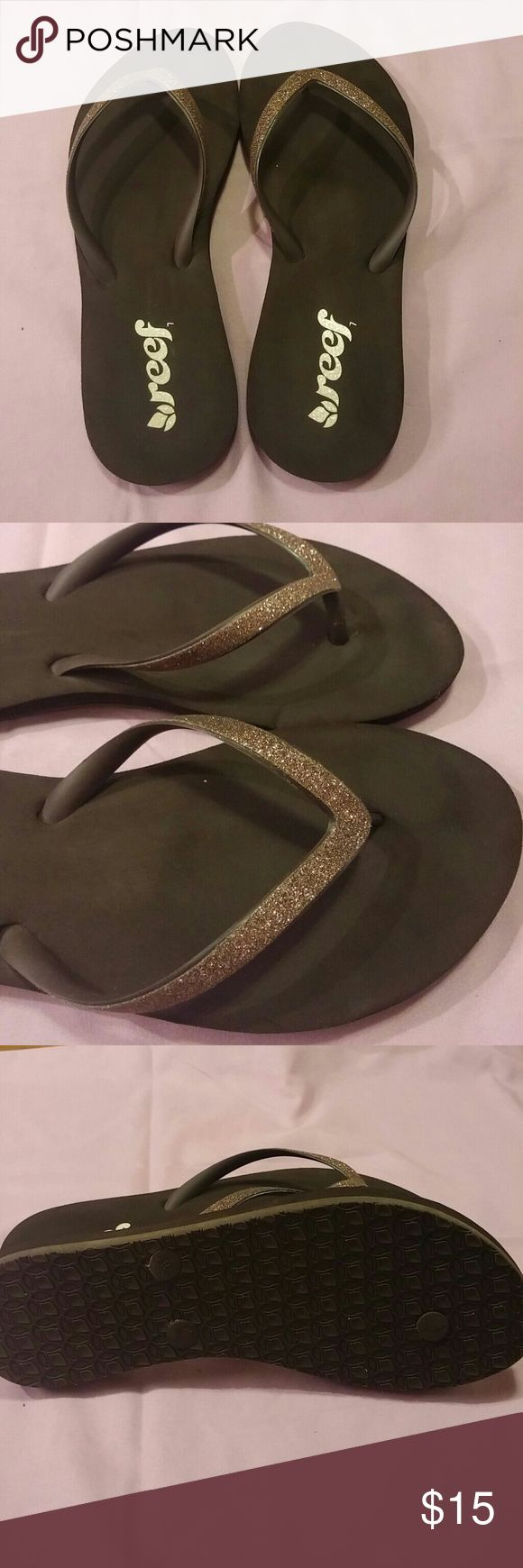 Reef flip flops with bling. Bronze colored glitter on these Reef flip flops. Size 7 Reef Shoes Sandals