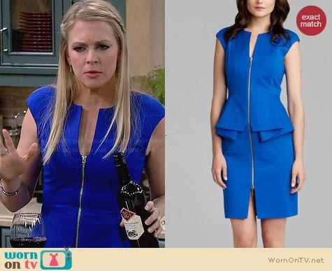 Melissa's blue zip front peplum dress on Melissa and Joey. Outfit Details: http://wornontv.net/28570 #MelissaandJoey #fashion