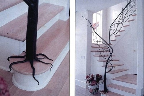 .Stairs Railings, Staircase Design, Trees Branches, Cool Ideas, Tree Branches, Wrought Iron, Staircases Railings, Stairs Design, Stairs Cases