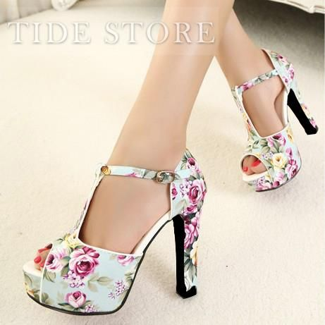 Beautiful Peep Toe Flower Print Lace-up Chunky Heel Sandals , Lace-up