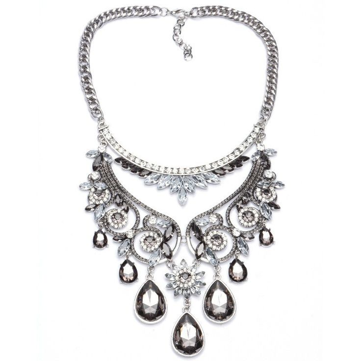 Necklaces : Silver Plated Flower Pendant Statement Choker