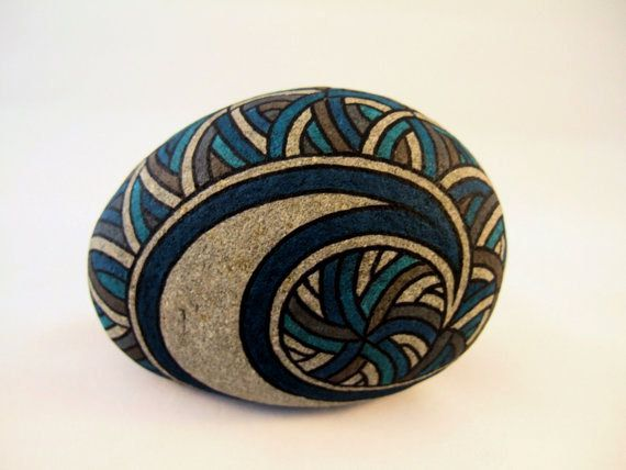 Painted Rock 3D Art Object in Blues, Brown, Charcoal, and Natural Gray Stone. Unique and OOAK Collectible Art for Home or Office
