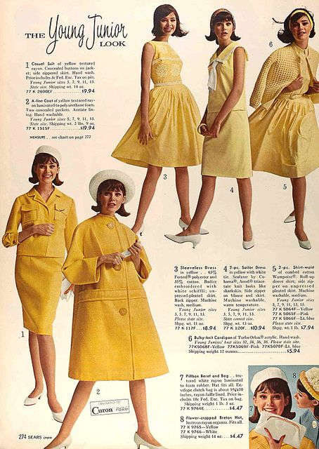 1964 Sears catalog vintage fashion style color photo print ad model magazine 60s yellow dress suit jacket skirt coat