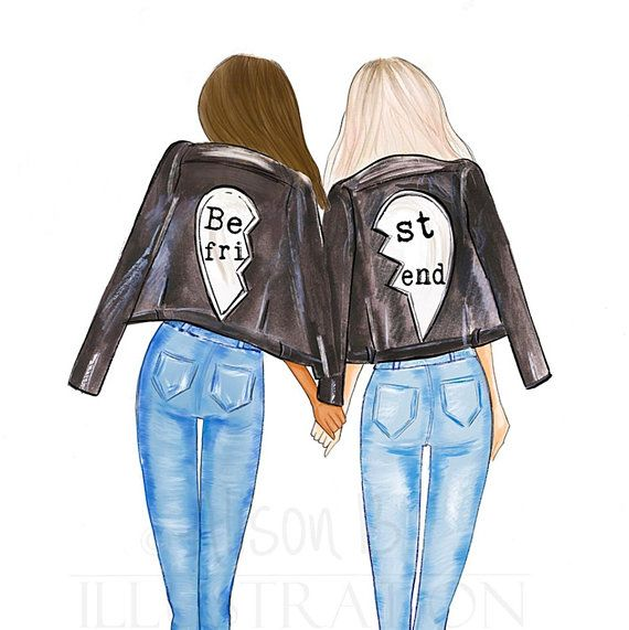Personalized Best friends wall art, multi cultural friend fashion illustration print, gift for sister, twin, room mate, Add names to print