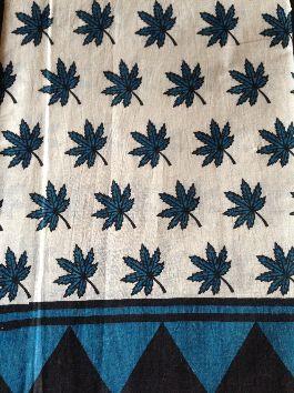 Blue Maples Block Printed Saree