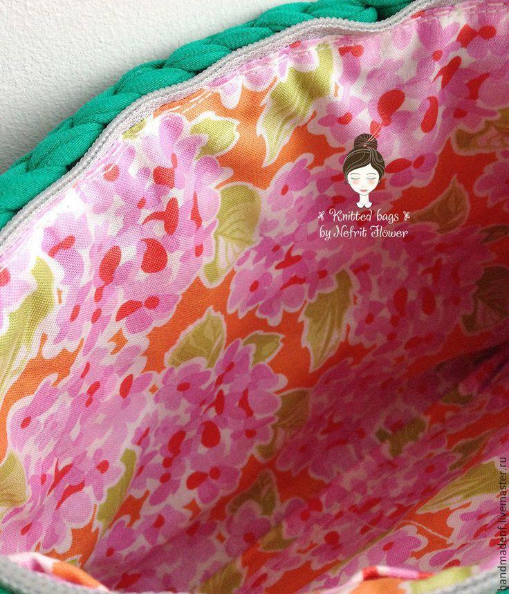 """Купить Вязаный клатч """"Весенний"""" - орнамент, розовый, зеленый, бежевый, клатч, клатч ручной работы"""