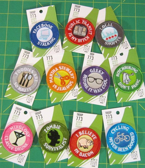 """Adult Merit Badges (So Geeky, So Cool) - the """"i believe in bacon"""" one we NEED to make for Guy. . ."""