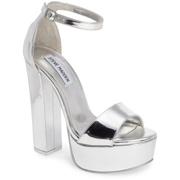 Women's Steve Madden Gonzo Platform Sandal ($100) ❤ liked on Polyvore featuring shoes, sandals, silver, platform shoes, silver high heel sandals, silver shoes, silver sandals and high heels sandals