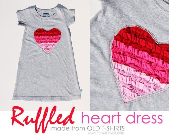 Ruffled Heart Valentine Dress (Made from recycled Tshirts)Little Girls, Diy Girls Tshirt Dresses, Dresses Tutorials, Recycle Tshirt, Day Dresses, Recycle T Shirts, Ruffles Heart, Old T Shirts, Heart Dresses