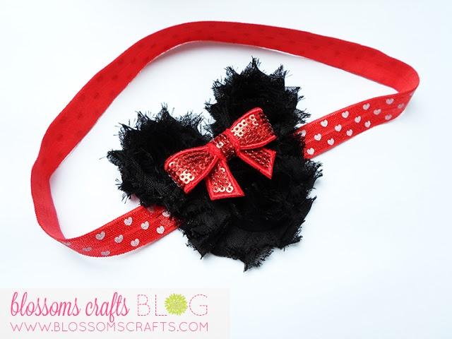 Shabby flower Minnie Mouse girls' headband - TUTORIAL! DIY, arts and crafts, headband tutorial.